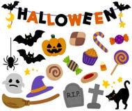 Decorazione e oggetti svegli di Halloween illustrazione vettoriale