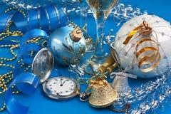 Decorazione e orologi da tasca di Natale Fotografia Stock