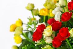 Decorazione e raccolta dei fiori artificiali del tessuto Immagini Stock Libere da Diritti