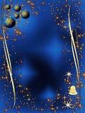 Decorazione elegante blu e dorata di natale Immagini Stock Libere da Diritti
