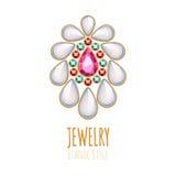 Decorazione elegante dei gioielli di vettore delle pietre preziose Immagine Stock Libera da Diritti
