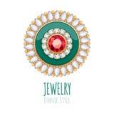 Decorazione elegante dei gioielli di vettore delle pietre preziose Immagini Stock