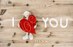 Decorazione fatta a mano adorabile di giorno di biglietti di S. Valentino Ti amo immagine stock libera da diritti