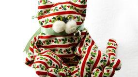 Decorazione fatta a mano del gatto di Natale Fotografie Stock Libere da Diritti