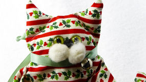 Decorazione fatta a mano del gatto di Natale Fotografia Stock