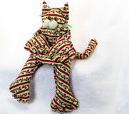 Decorazione fatta a mano del gatto di Natale Fotografie Stock