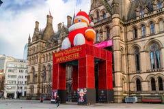 Decorazione festiva di municipio, Regno Unito di Manchester Immagini Stock