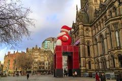 Decorazione festiva di municipio, Regno Unito di Manchester Fotografia Stock Libera da Diritti