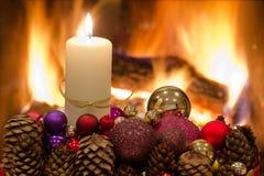 Decorazione floreale della tabella di Natale Fotografia Stock