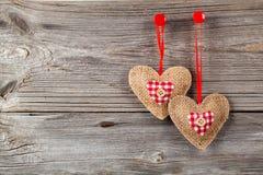 Decorazione a forma di cuore fatta di legno Fotografia Stock