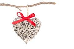Decorazione a forma di cuore fatta di legno, Fotografia Stock