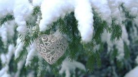 Decorazione a forma di del cuore che appende sull'albero di abete stock footage