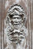 Decorazione a forma di del fronte su una porta di legno immagine stock