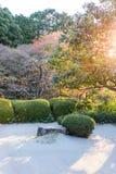 Decorazione giapponese del giardino con roccia e cespuglio, linea del lthe di tiraggio con il g fotografia stock libera da diritti