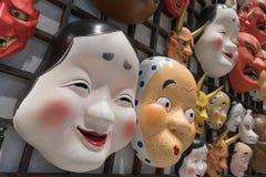 Decorazione giapponese della maschera al negozio di ricordo Fotografia Stock Libera da Diritti