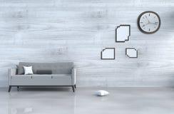 Decorazione grigia del salone del sottotetto con il sofà Fotografie Stock