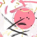 Decorazione a mano libera gialla di rosa Struttura creativa disegnata a mano di vettore L'inchiostro schizza l'illustrazione spor royalty illustrazione gratis