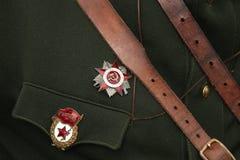 Decorazione militare sovietica sull'uniforme Fotografia Stock Libera da Diritti