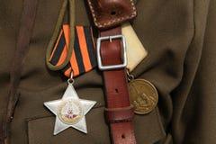 Decorazione militare sovietica sull'uniforme Immagine Stock Libera da Diritti