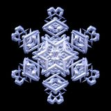 Decorazione nevosa di inverno del ghiaccio del fiocco di neve isolata sul nero illustrazione di stock