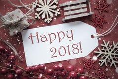 Decorazione nostalgica di Natale, etichetta con testo 2018 felice Fotografia Stock Libera da Diritti