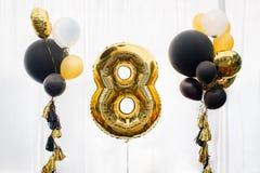 Decorazione per 8 anni di compleanno Fotografia Stock