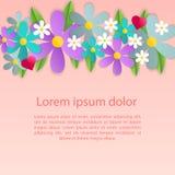 Decorazione romantica della struttura del manifesto con i cuori, i fiori e la struttura per la cartolina d'auguri di giorno di bi Fotografia Stock Libera da Diritti