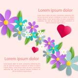 Decorazione romantica della struttura del manifesto con i cuori, i fiori e la struttura per la cartolina d'auguri di giorno di bi Fotografia Stock