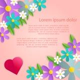Decorazione romantica della struttura del manifesto con i cuori, i fiori e la struttura per la cartolina d'auguri di giorno di bi Immagini Stock