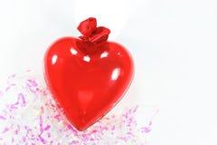 Decorazione rossa del cuore per il fondo di San Valentino Fotografia Stock Libera da Diritti