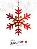 Decorazione rossa del fiocco di neve per la cartolina di Natale Fotografie Stock