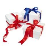 Decorazione rossa del regalo del presente della casella del nastro Immagine Stock