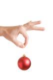 Decorazione rossa dell'albero di Natale Immagini Stock