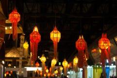 Decorazione rossa della lanterna durante il nuovo anno cinese Fotografia Stock