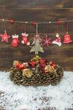 Decorazione rustica elegante misera di Natale Immagini Stock