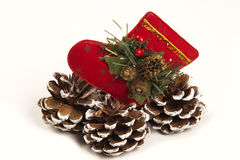 Decorazione Santa di Natale e scarpa della pigna Priorità bassa bianca Immagini Stock
