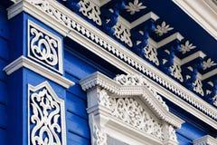 Decorazione scolpita della finestra Fotografia Stock Libera da Diritti