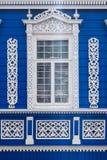 Decorazione scolpita della finestra Fotografia Stock