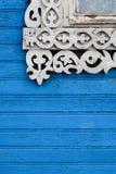 Decorazione scolpita della finestra Fotografie Stock Libere da Diritti