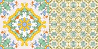 Decorazione senza giunte delle mattonelle nel vecchio stile siciliano Immagine Stock Libera da Diritti