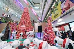 Decorazione Snoopy di natale di Hong Kong APM Fotografie Stock Libere da Diritti