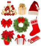 Decorazione stabilita della corona dei regali della calza della raccolta di Natale Fotografia Stock Libera da Diritti