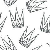 Decorazione sveglia e moderna del modello senza cuciture delle corone della regina e di re - Immagini Stock Libere da Diritti