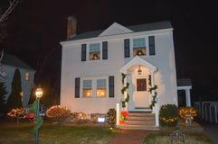 Decorazione tradizionale dei cristmass a Boston, U.S.A. l'11 dicembre 2016 Immagine Stock Libera da Diritti