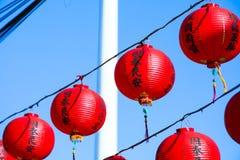 Decorazione tradizionale del tempio cinese, lanterna orientale rossa Fotografie Stock