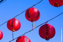 Decorazione tradizionale del tempio cinese, lanterna orientale rossa Fotografia Stock Libera da Diritti