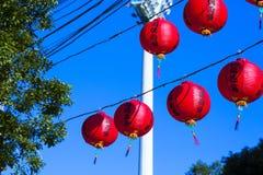 Decorazione tradizionale del tempio cinese, lanterna orientale rossa Immagini Stock Libere da Diritti