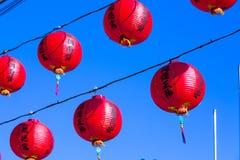 Decorazione tradizionale del tempio cinese, lanterna orientale rossa Fotografia Stock