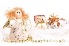 Decorazioni, angelo e candela di Natale fotografie stock libere da diritti