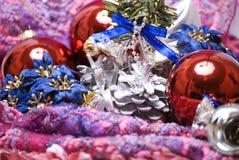 Decorazioni anno di nuovo e di natale Fotografia Stock